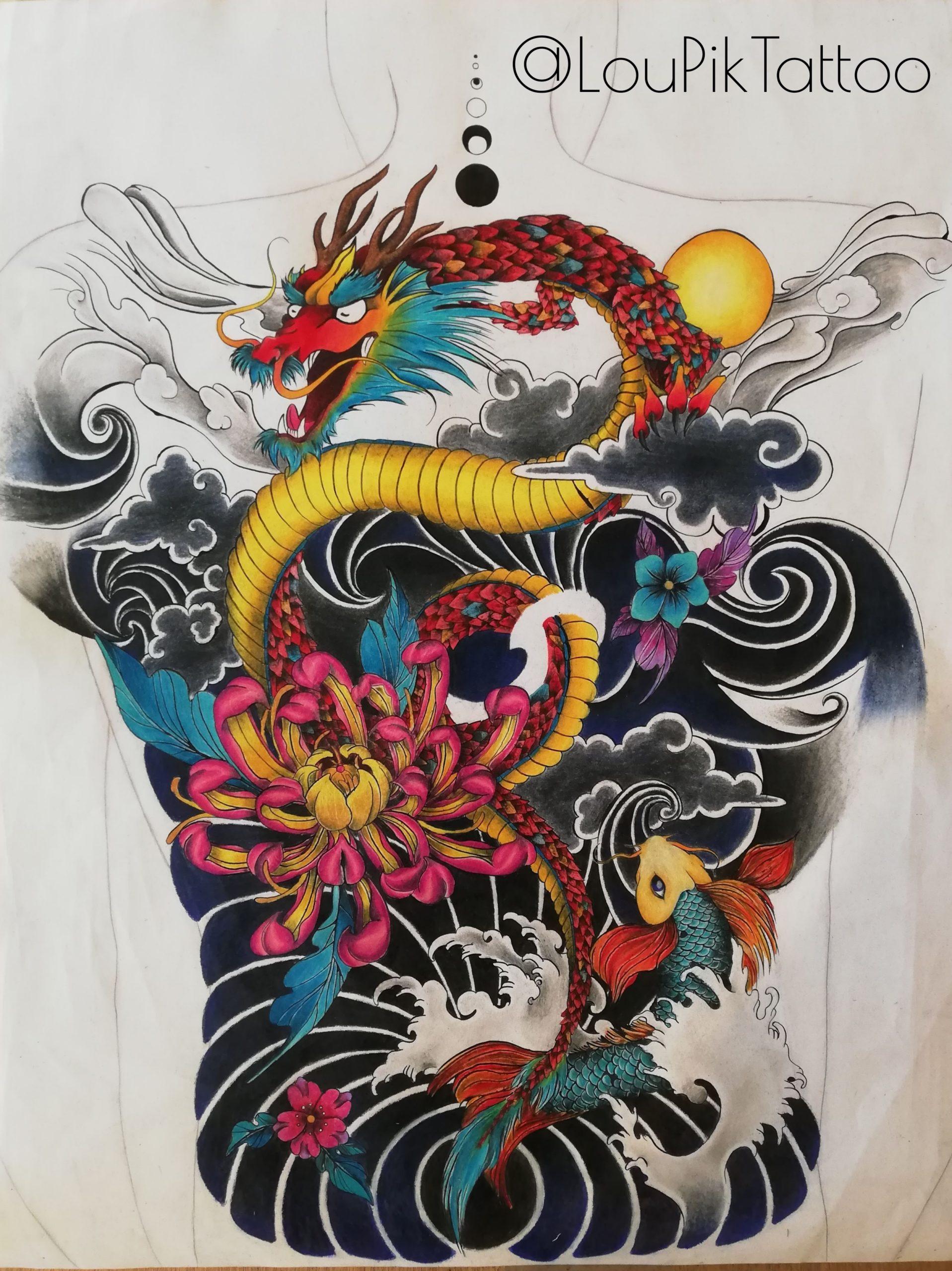 Composition style tattoo oriental