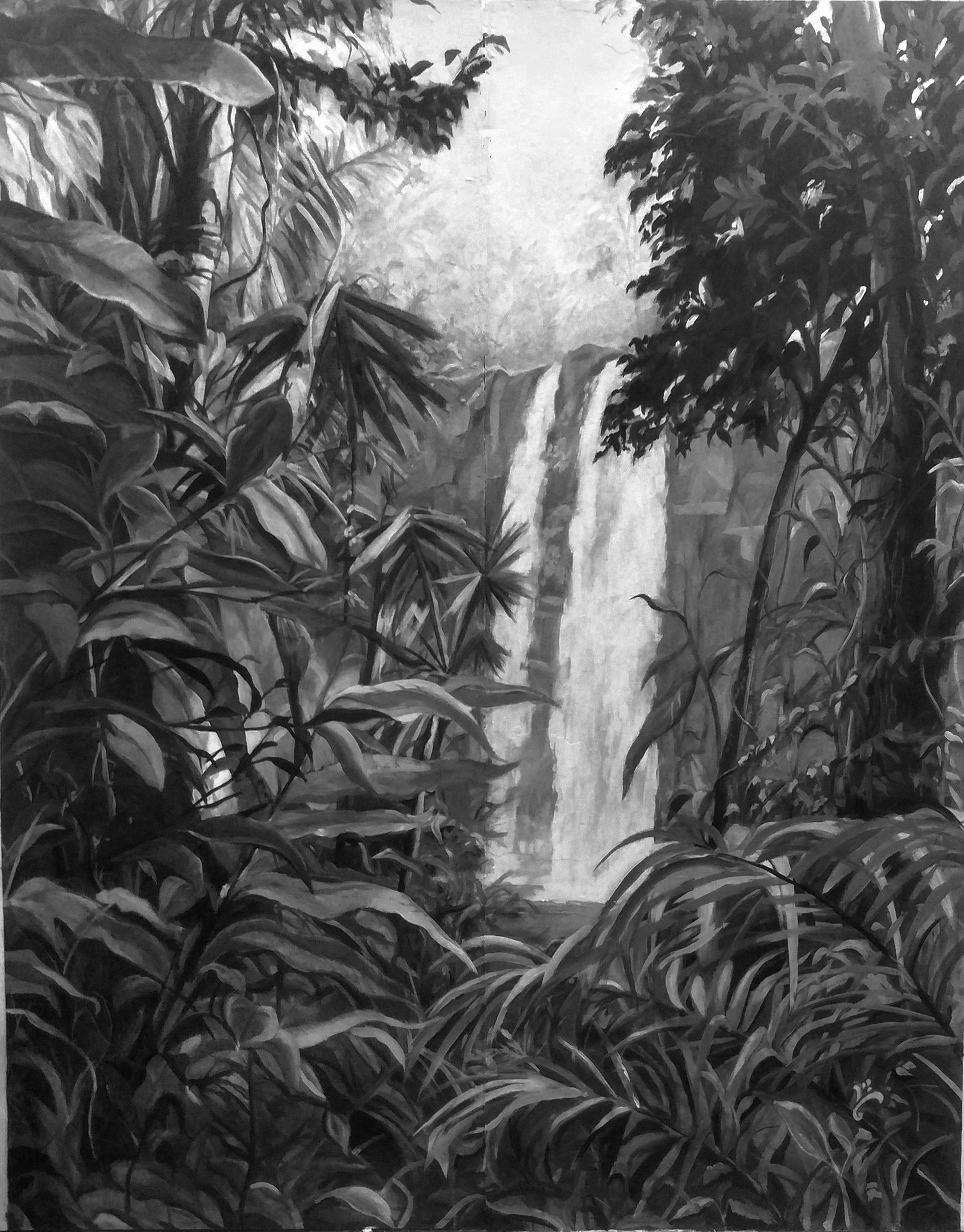 Décor mural paysager, création de fin de formation