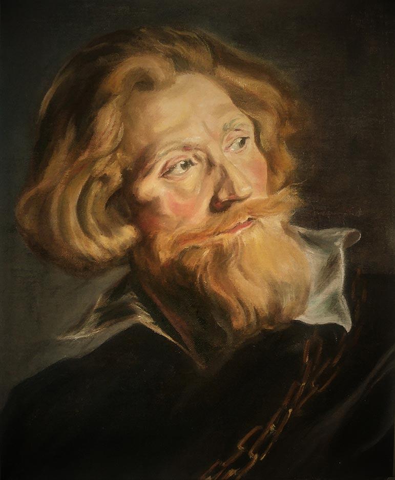 Copie de portrait à la peinture à l'huile d'après Rubens