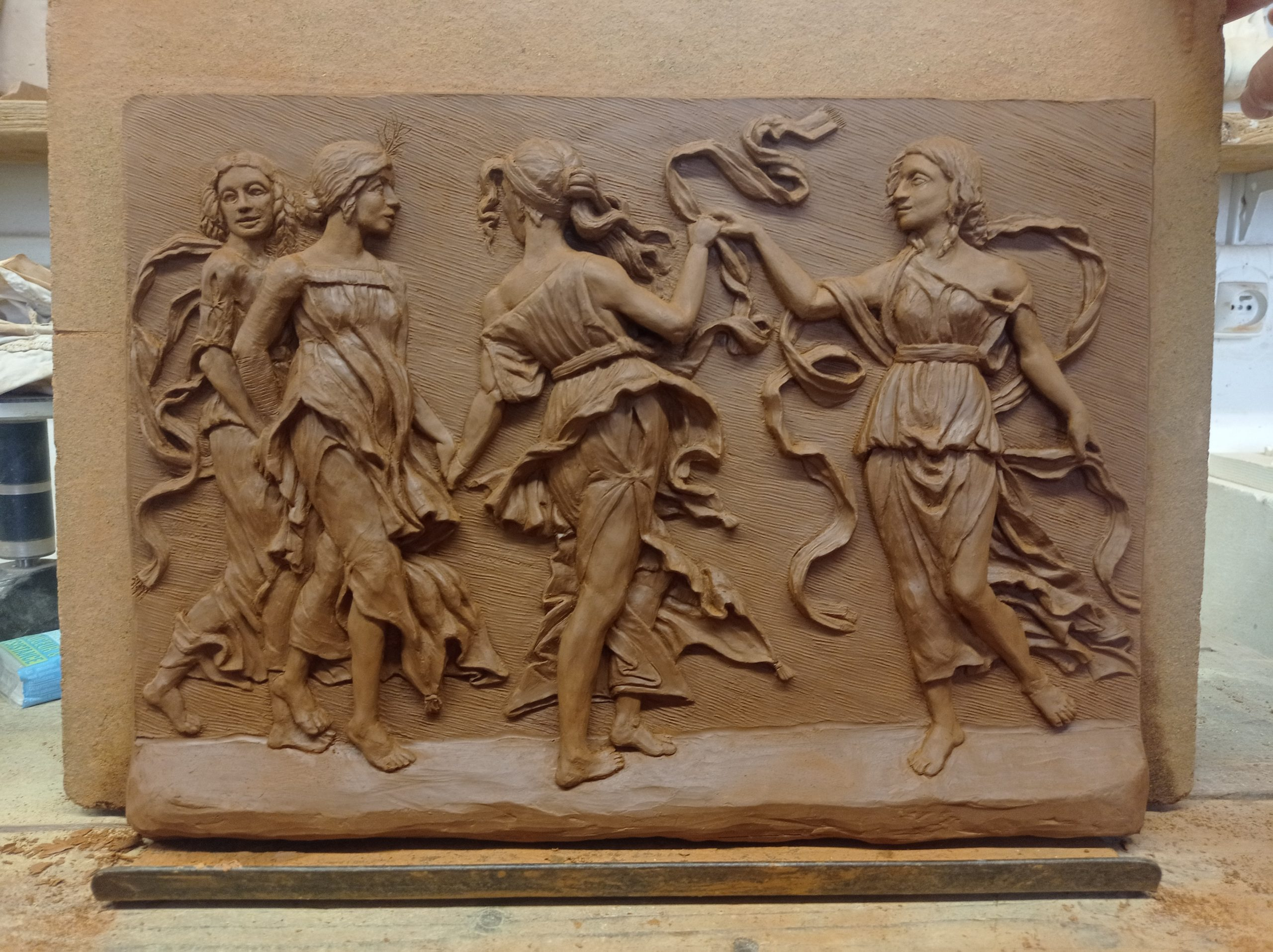 Bas-relief en argile d'après une gravure d'Andrea Mantegna 15ème siècle