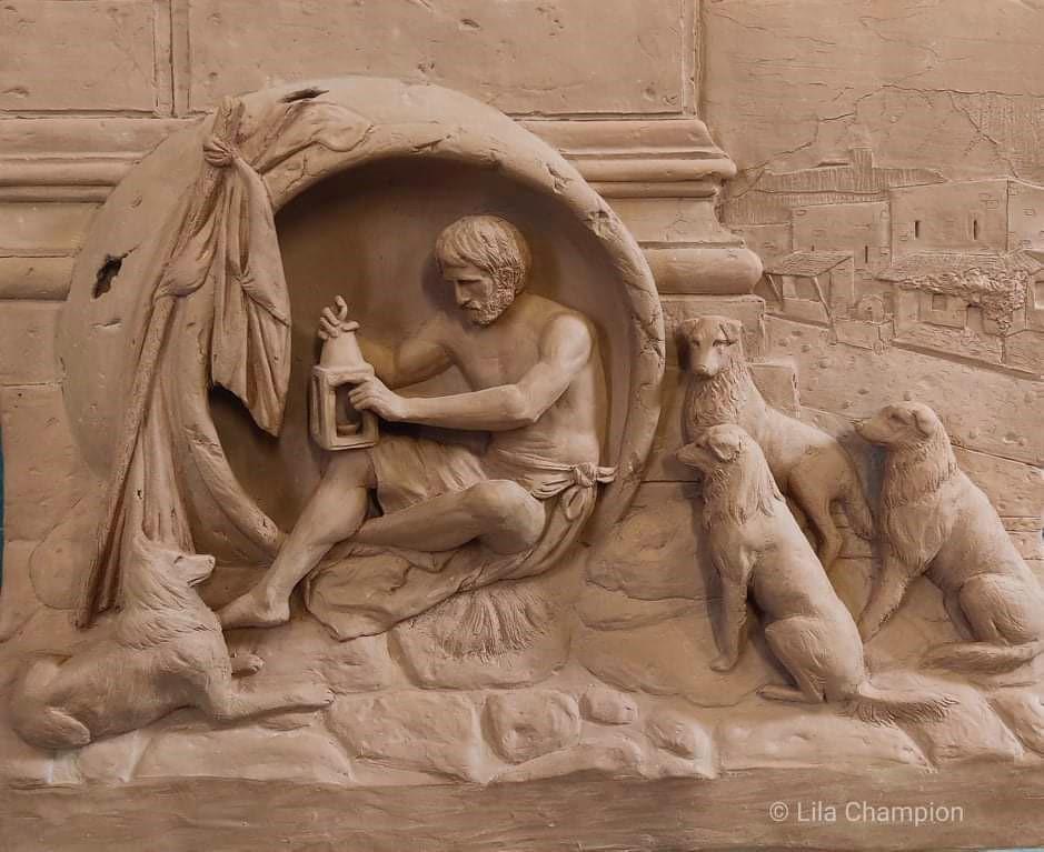 Bas-relief en argile d'après un tableau de Jean-Léon Gérôme