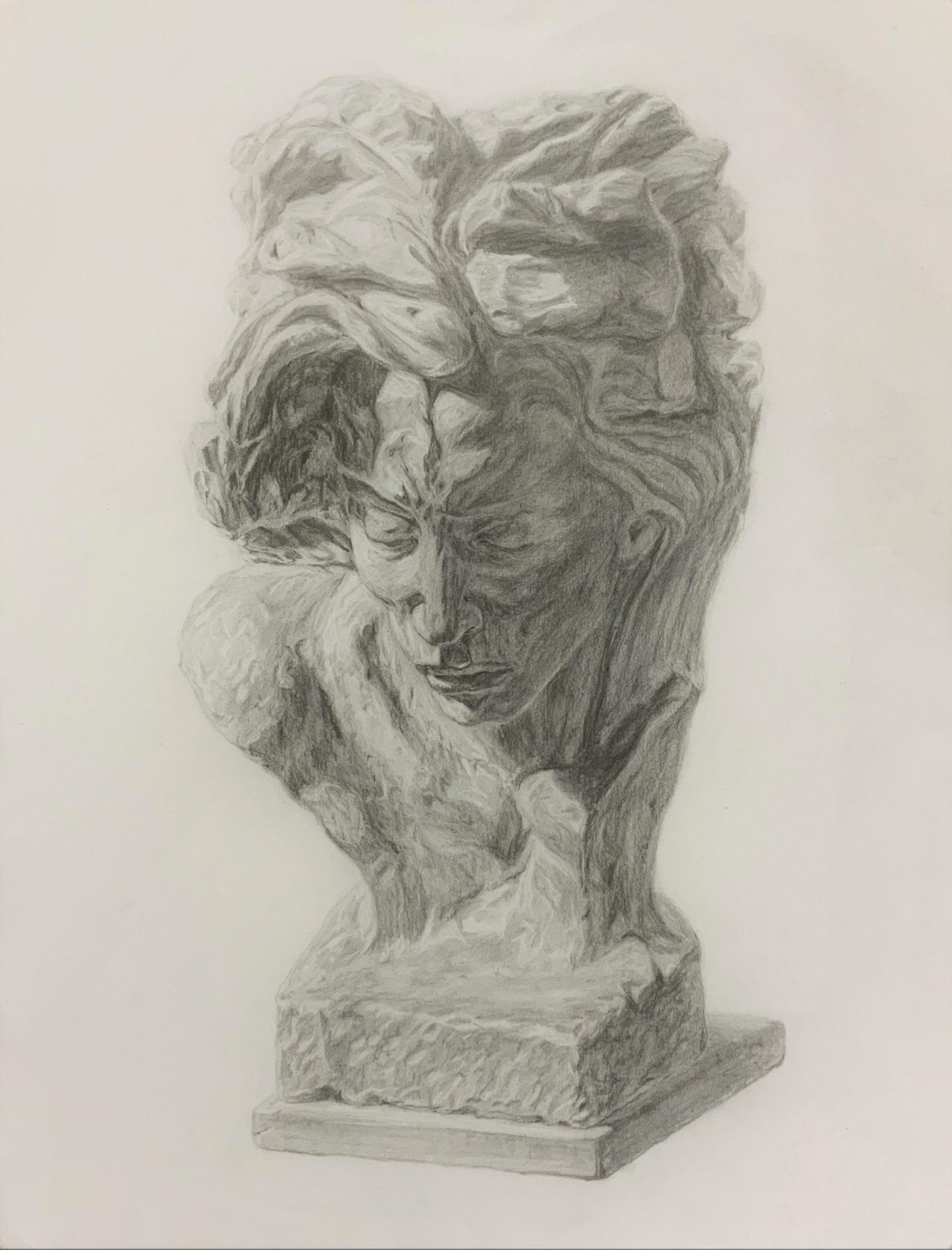 Dessin d'étude au crayon d'après un buste en argile
